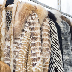 Fur coats made for ladies and exposed for sale