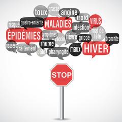 nuage de mots : maladies épidémies hiver (carré)