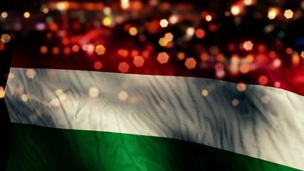 Hungary Flag Light Night Bokeh Abstract Loop Animation
