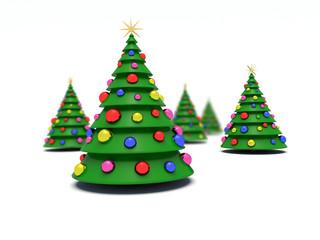 Christmas trees. 3d render illustration.