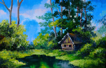 Oil Painting - Farmhouse near the lake river blue, blue sky