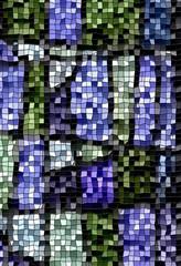 Mosaik in den Frben grün, blau und grau