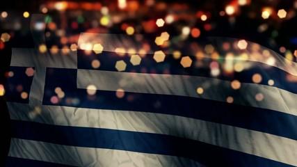Greece Flag Light Night Bokeh Abstract Loop Animation