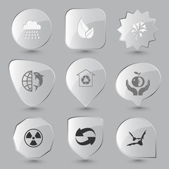 bats, recycle symbol, radiation symbol, apple in hands, protecti