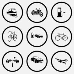 train, motorcycle, fueling station, bicycle, car fueling, road,