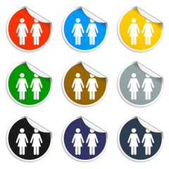 couple icon. Set of blank stickers