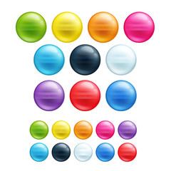 Set of different colorful round beads.