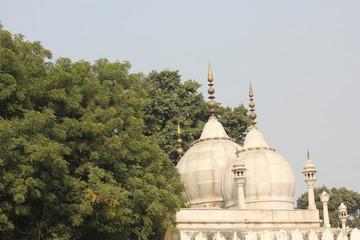 Moti Masjid, a white marble mosque in Delhi, India