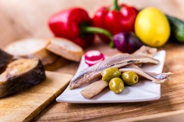 Sea herring with garnish