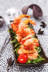 Celebratory appetizer of fried shrimp