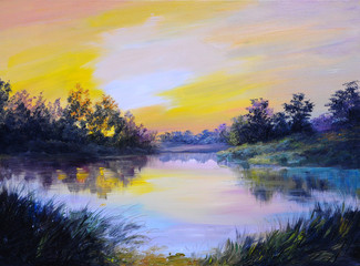 Oil Painting landscape - beautiful lake at colorful sunset, made