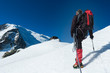 Mountaineer walking on the glacier during the climb of Mont Blan