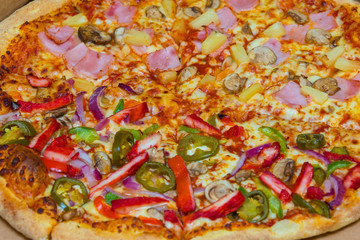 pizza with baconi and vegetables