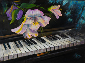 Oil Painting - piano and flowers, vintage, artwork painted with