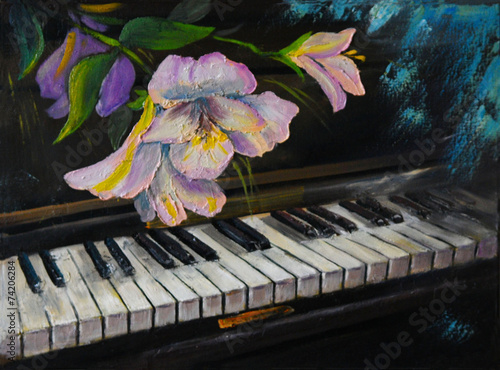 Oil Painting - piano and flowers, vintage, artwork painted with - 74206284