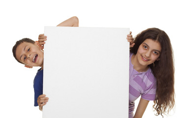 Blank sign - children, isolated on white