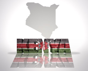 Word Kenya on a map background