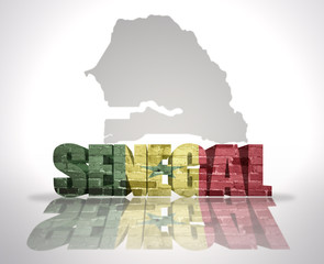 Word Senegal on a map background