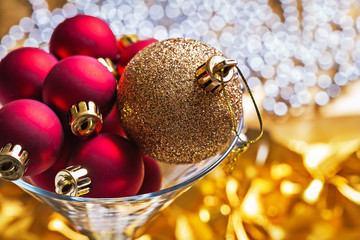 christmas balls in wineglass