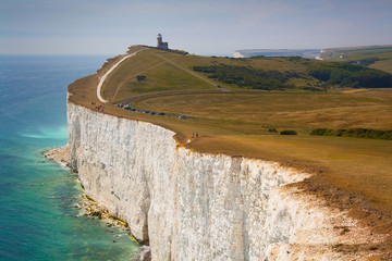 Lighthouse at Seven Sisters cliffs, East Sussex, UK.