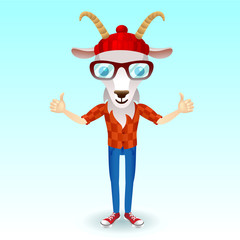 Goat hipster character