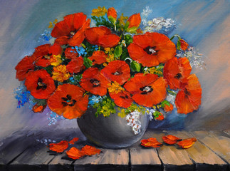 oil painding - a bouquet of poppies in a vase on a wooden table,