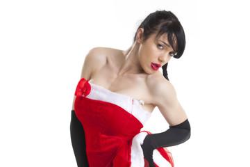 Frau in einem Santa-Kostüm auf weiß