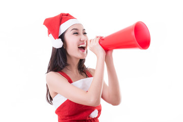 Christmas santa women announcement for give information to custo
