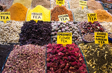 Teas, Spices on Egyptian and the Grand Bazaar in Istanbul.