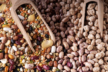 colorful mixture of pulses for vegetable soup