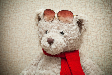 Teddy bear wearing a scarf and sunglasses on his forehead