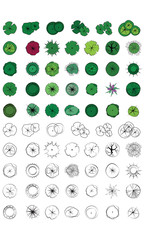 Landscape Design Symbols, Trees Top View, Vector