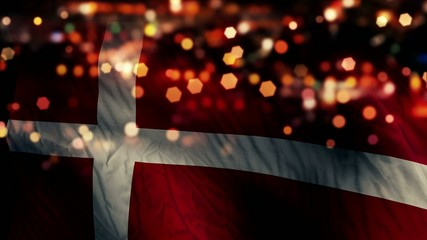Denmark Flag Light Night Bokeh Abstract Loop Animation