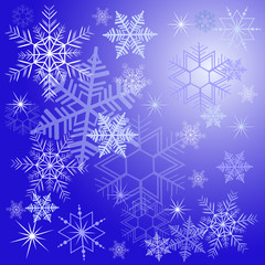 Winter background with different snowflakes 2015