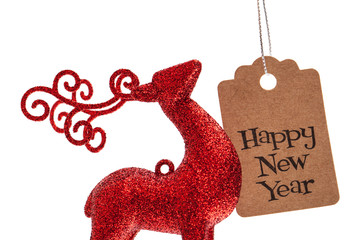 happy new year greeting message and christmas deer