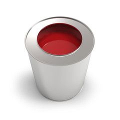 Metal bucket with red paint isolated on white