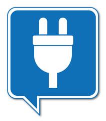 Logo prise électrique. Electricité.