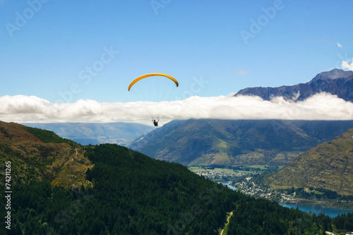 Paraglider in the sky, Queenstown, New Zealand
