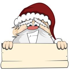 Santa Faces - Santa Claus holding a bulletin