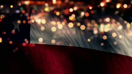 Chile Flag Light Night Bokeh Abstract Loop Animation