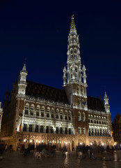 illuminated grote markt in belgian capital brussels.