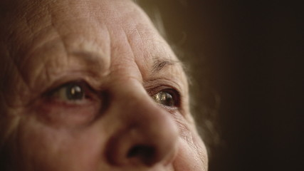 Portrait of an old woman. Close up
