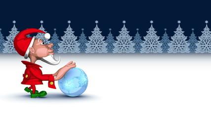 Christmas elf pushing magic snowflakes ball. Seamless