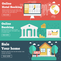 flat set of social business travel, online banking, parking and