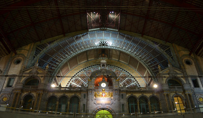 View over interior of antwerp train station