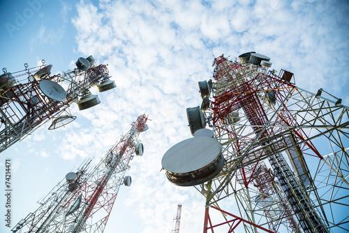 Telecommunication mast TV antennas