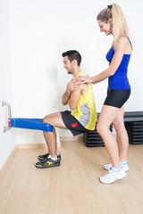 Female trainer explaining training