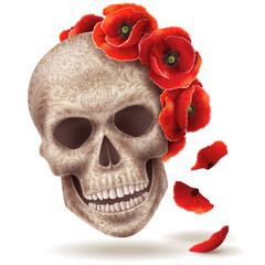 Human skull and poppy flowers.