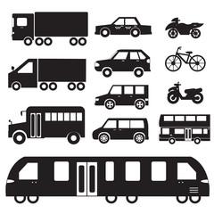 Flat cars concept set icon pictogram illustration design. Tampla