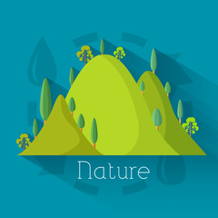 Flat design of ecology, environment, green clean energy and poll